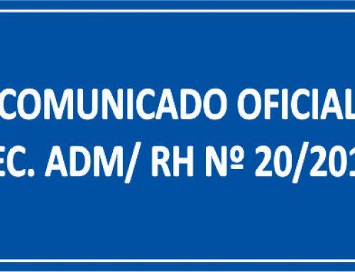 COMUNICADO OFICIAL SEC. ADM/ RH Nº 20/2018