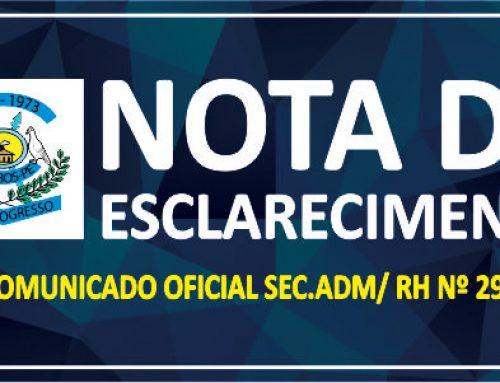 NOTA DE ESCLARECIMENTO REF: A PARECER OPINATIVO Nº 003/2018