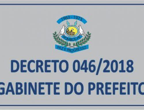 DECRETO Nº 46 – RATIFICA O ARTIGO 100 DA LEI ORGÂNICA MUNICIPAL E REGULA FERIADO MUNICIPAL