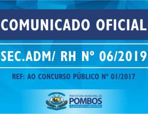 COMUNICADO OFICIAL SEC. ADM/ RH Nº 06/2019