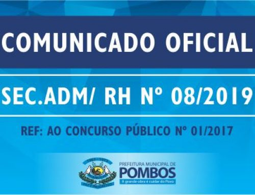 COMUNICADO OFICIAL SEC. ADM/ RH Nº 08/2019