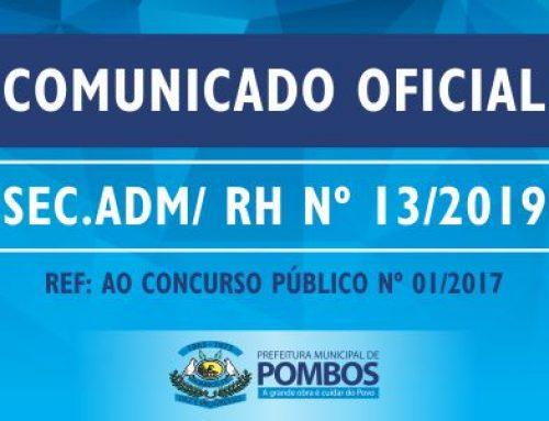 COMUNICADO OFICIAL SEC. ADM/ RH Nº 13/2019